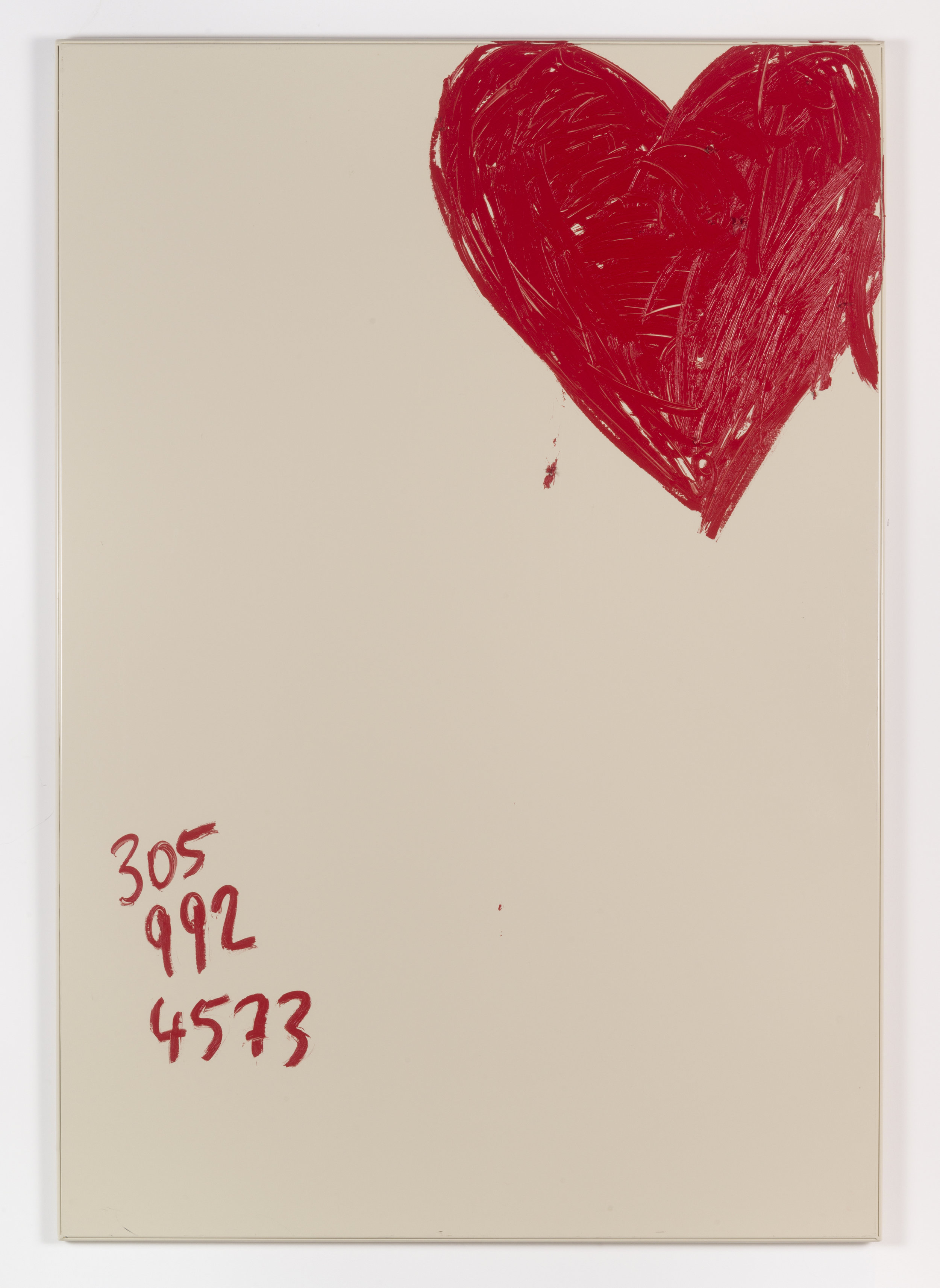 Jennifer Rubell,  Perfect Heart , 2018, oil stick on bathroom partition, 58 x 40 inches