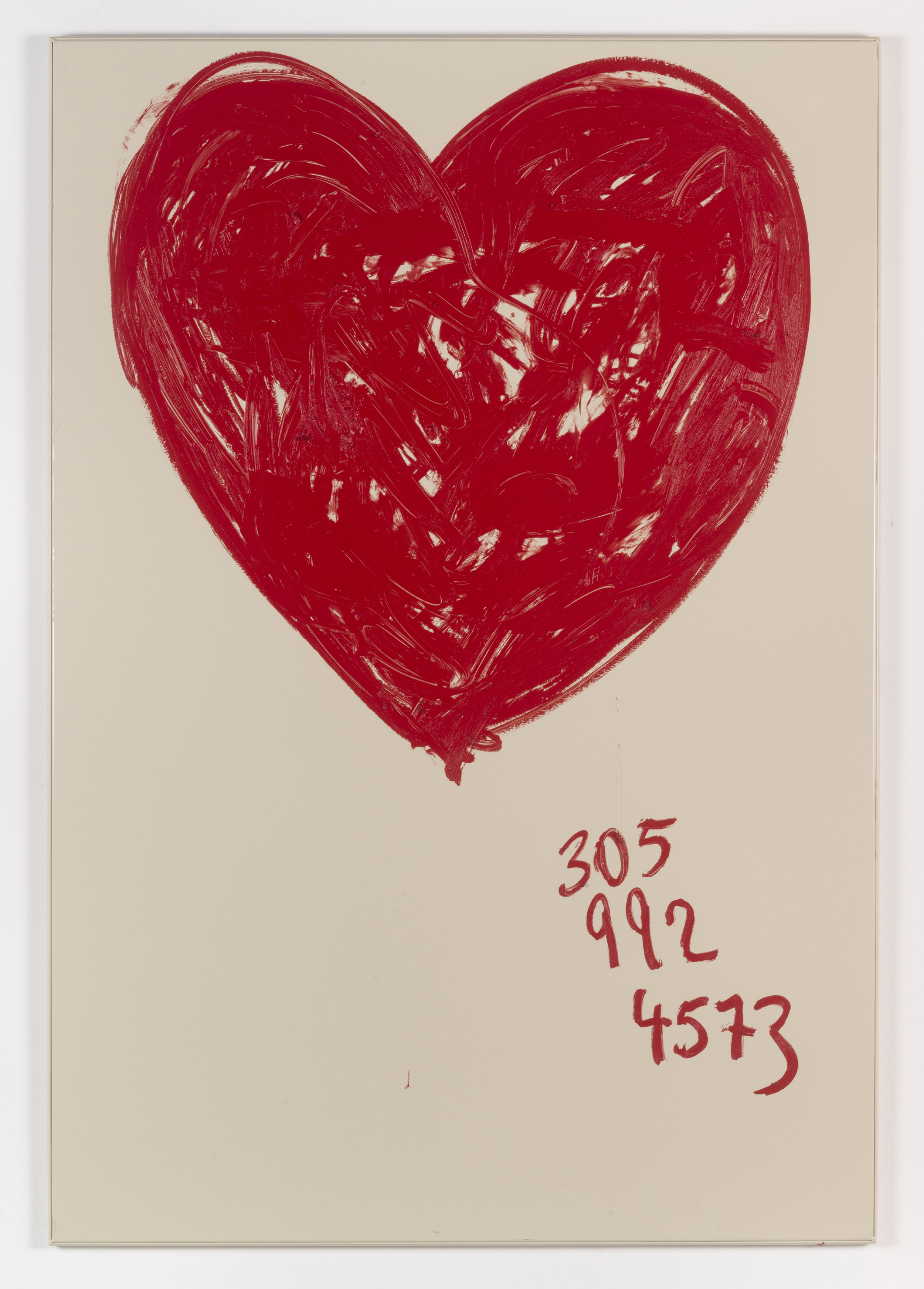 Jennifer Rubell,  Big Floating Heart , 2018, oil stick on bathroom partition, 58 x 40 inches