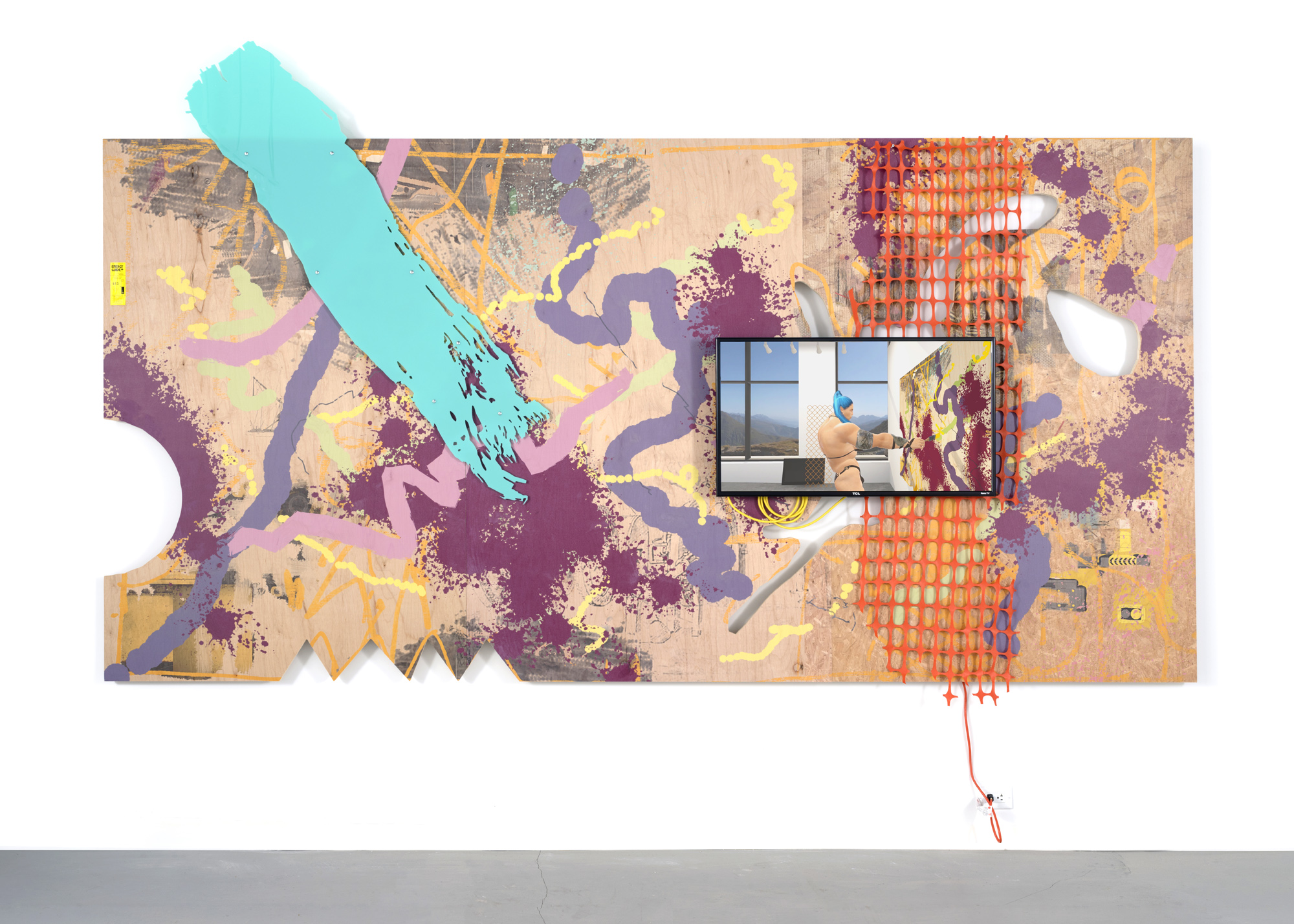 """Theo Triantafyllidis,  Painting , 2018, print on plywood and acrylic, construction fencing, video on embedded 40"""" inch HD TV, performance documentation"""