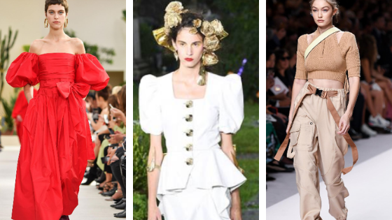 Some of the styles we'll be seeing in 2019 - from l to r - bows at Valentino, puffed sleeves at Rodarte and utility wear at Fendi