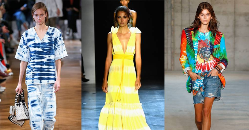 Tie-dye has been all over the catwalks this season - l to r - including at Stella McCartney, Prabal Gurung and R13
