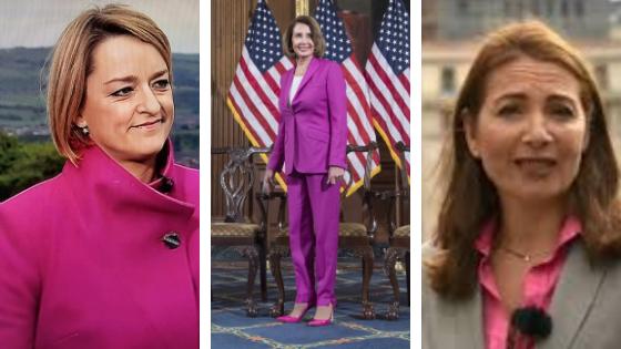 Pretty in pink (l-to-r): Laura Kuenssberg, Nancy Pelosi and Katya Adler