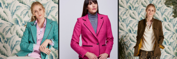 Allta's Moreton wool blazer in turquoise and pink, and our Blewbury military style jacket in olive green