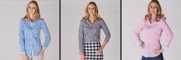 Allta's Aston gingham shirt in blue, navy and pink