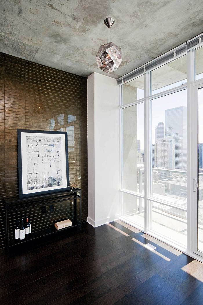 Former white box turned glamorous flat. - This client bought into a downtown high-rise for it's beautiful views, wonderful amenities and easy walk-ability. A new design brought this simple space up to a level of beauty the client enjoys sharing with friends and family.