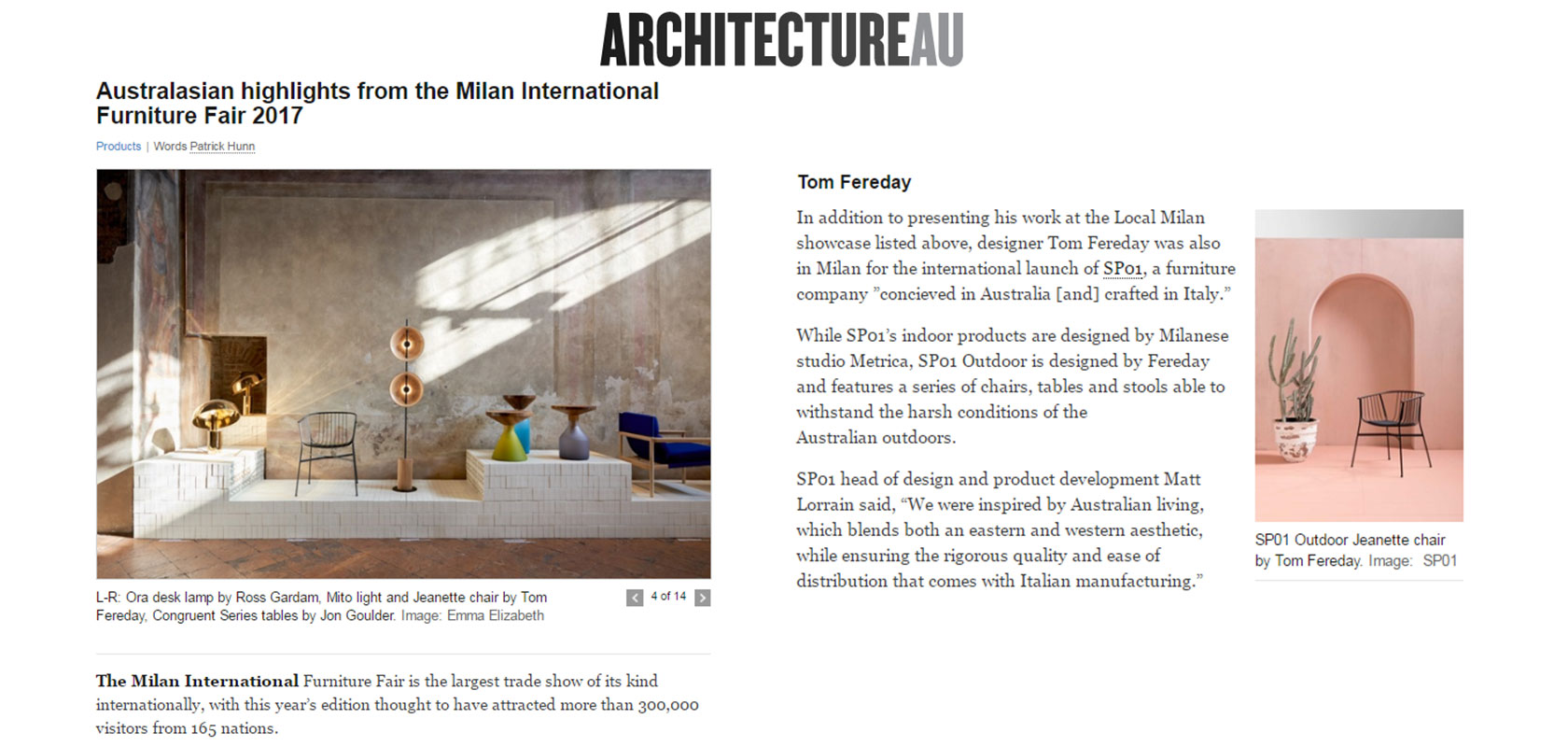 ArchitectureAU Online (AU), April 2017,  read the story here.