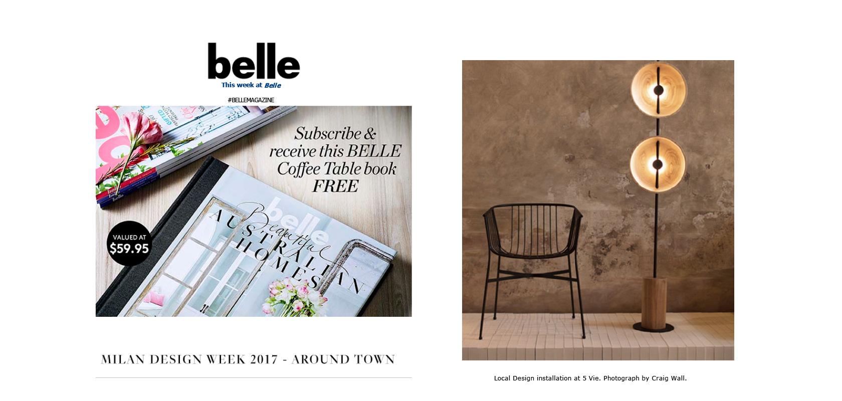 Belle Magazine Australia Newsletter, April 2017