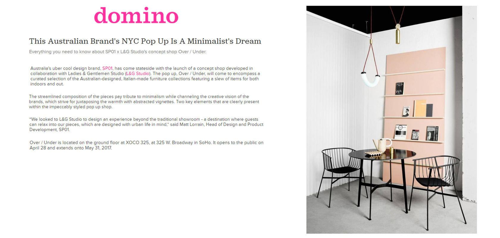 Domino (US), May 2017,  read the story here.