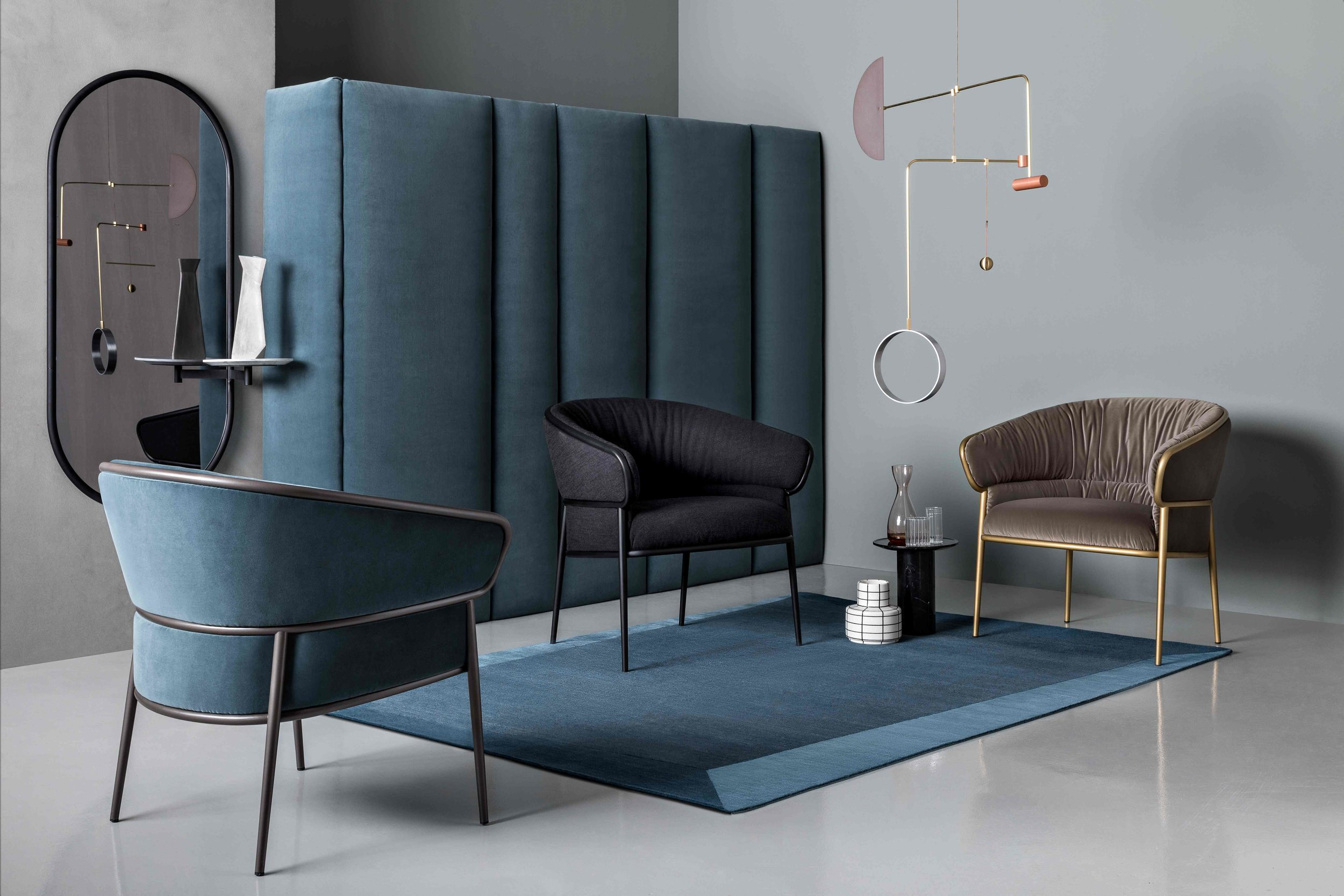 Michelle Wall Mirror and Shu-Ying Armchairs