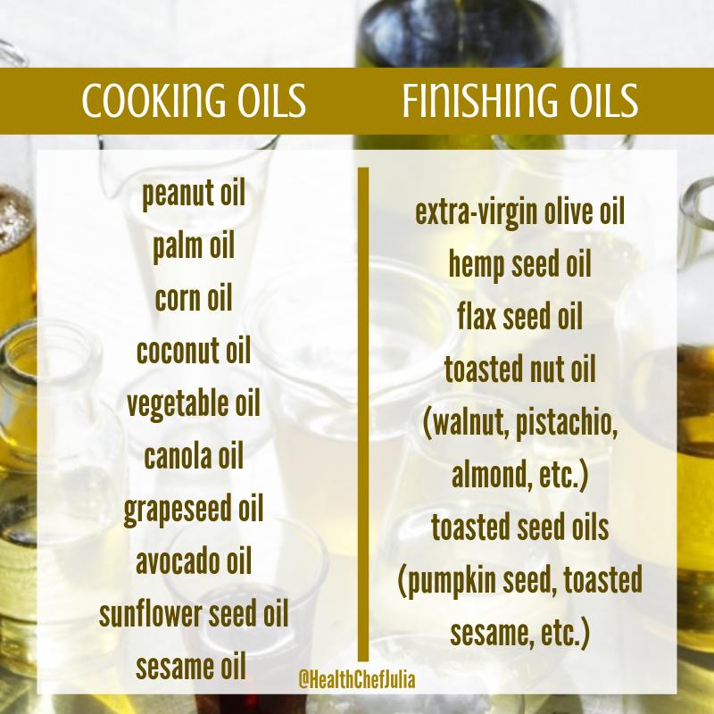 Cooking Oils vs. Finishing Oils