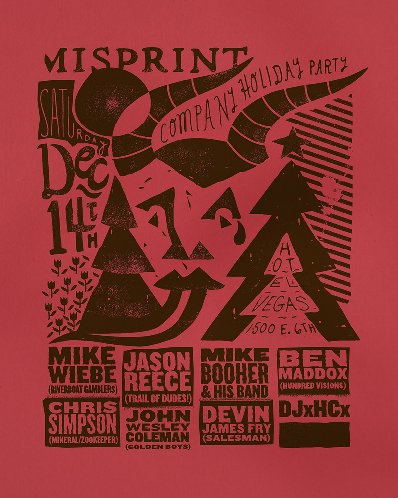 misprint holiday party  screenprinted poster