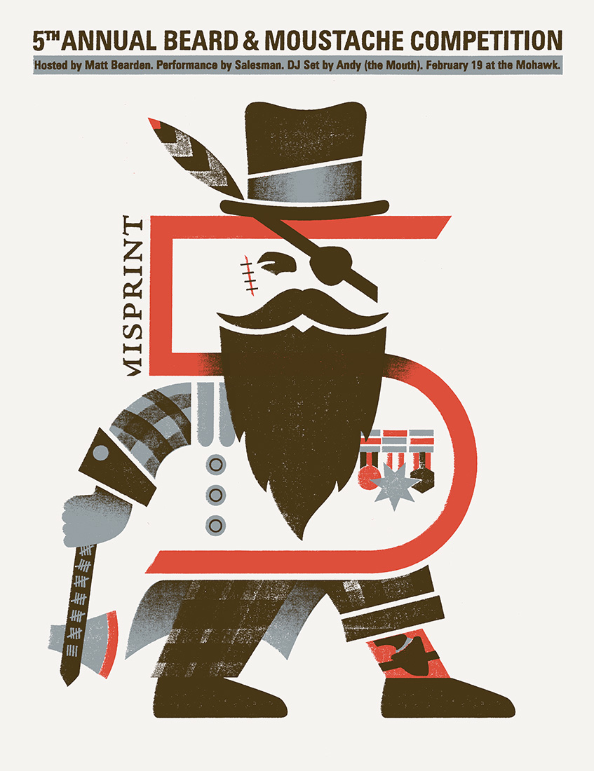 misprint beard & moustache competition  screenprinted poster