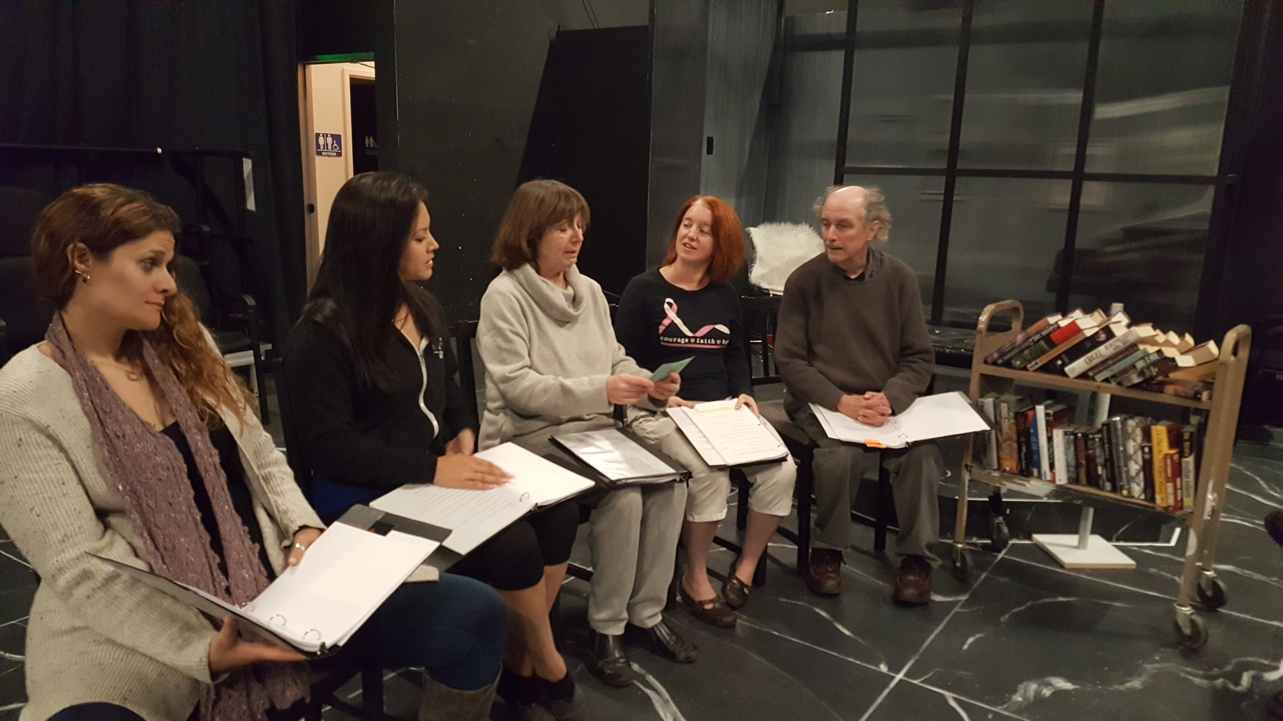Pictured, left to right: Jennifer Sorkin, Heather Mae Steffen, Pear Theatre founder Diane Tasca, Stephanie Crowley, and Jim Johnson.
