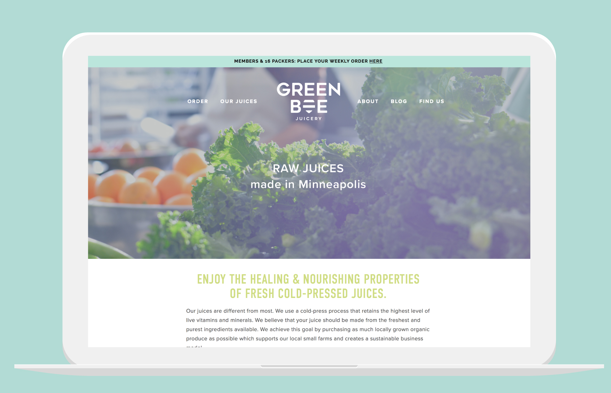 Green Bee Juicery - Website design by Kayd Roy