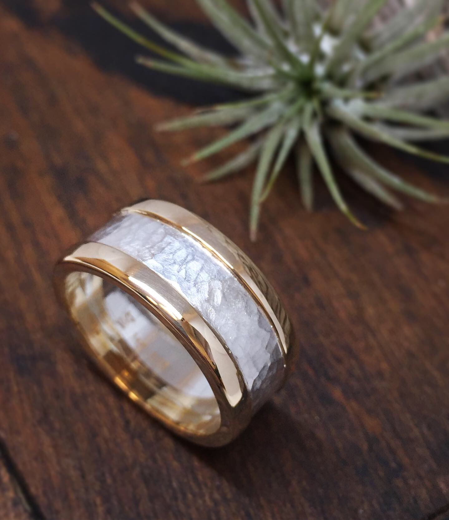 Gold and Hammered Silver
