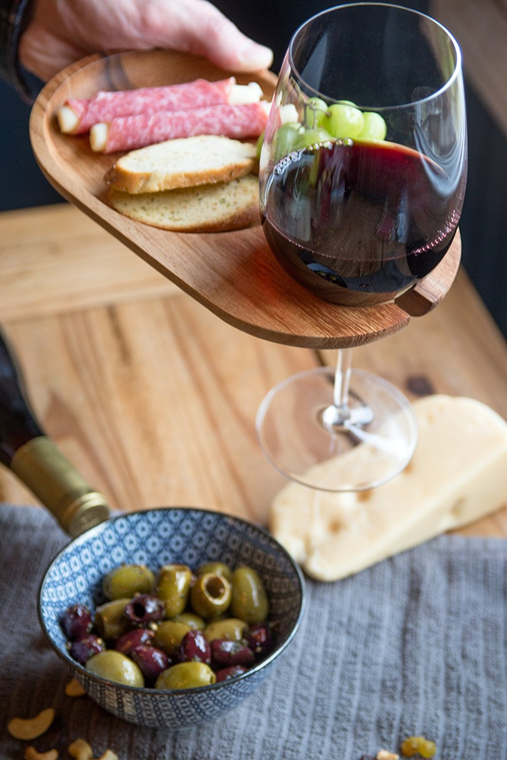 This compact appetizer plate will help your guests take care of their wine and appetizers in one convenient unit. - $