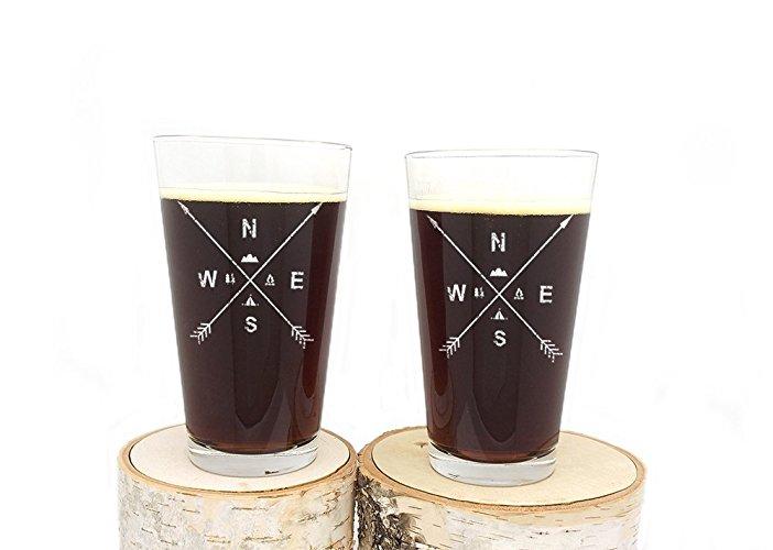 Arrow & Wilderness Pint Glasses. - $
