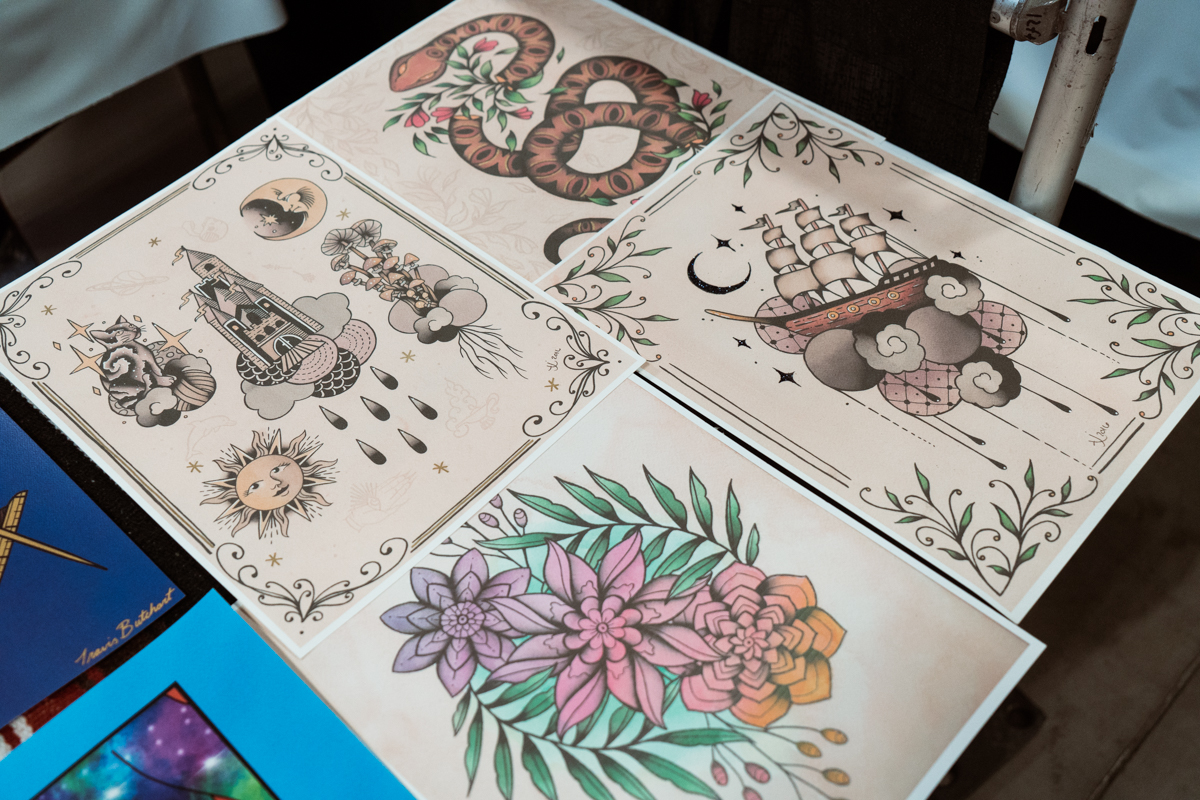 A gorgeous display of prints made by Tita Jewels of Little Pricks Tattoo Studio in Austin