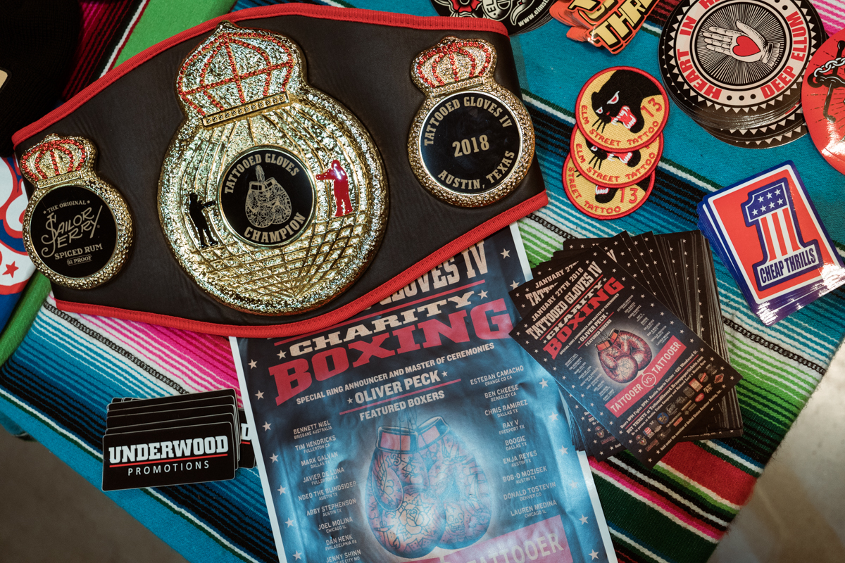 Promo materials for Tattooed Gloves, a Tattooer vs Tattooer amateur boxing event that raises funds for True South Relief and serves as the official after party of the Star of Texas Tattoo convention.