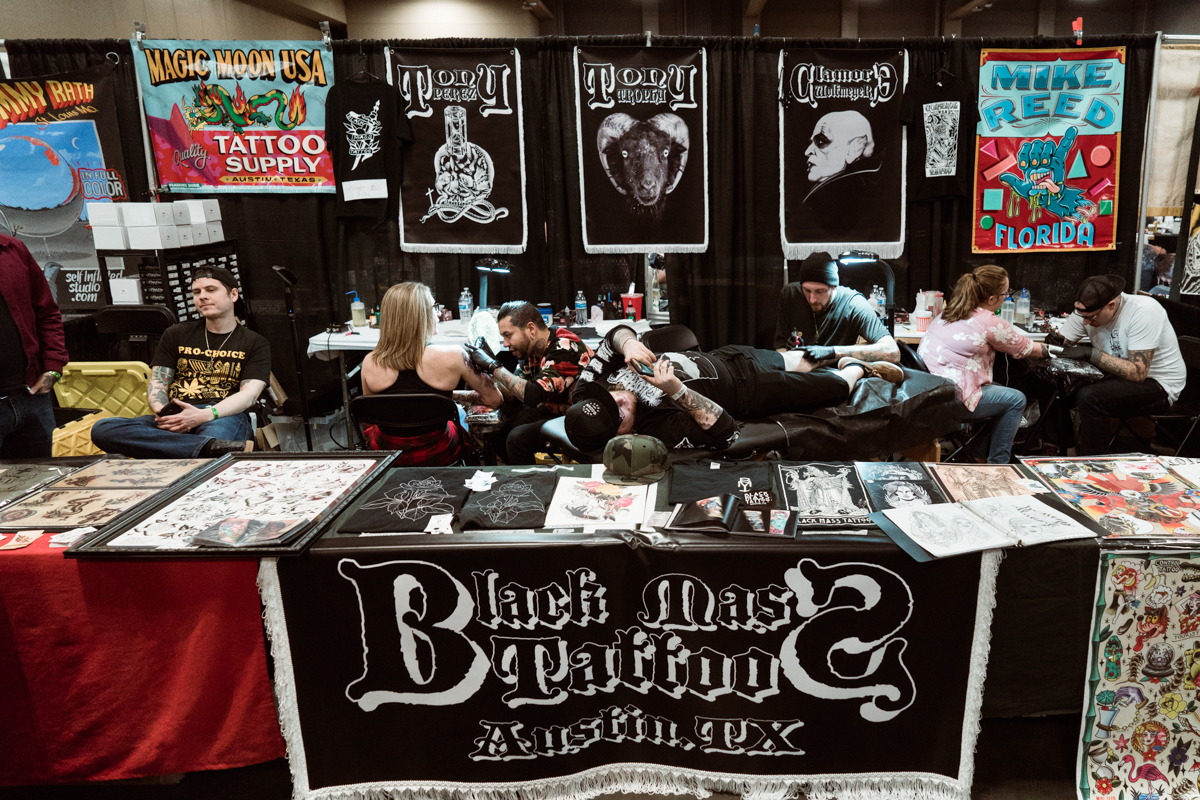 Black Mass Tattoo of Austin sets up the most wonderfully dark booth.