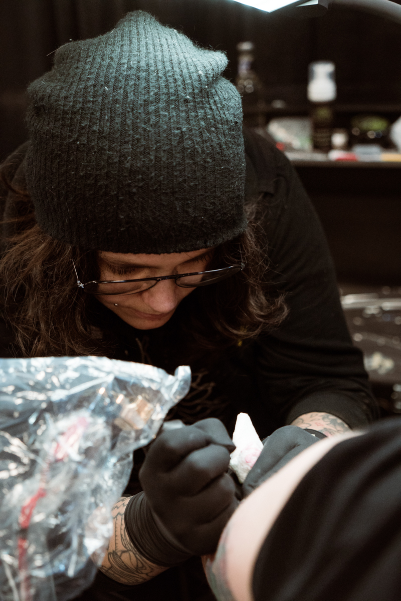 Texas Inked Pro Team artist Jay Joree undoubtedly creating another one of her faceless masterpieces. Find her in Dallas at Third Eye Gallery