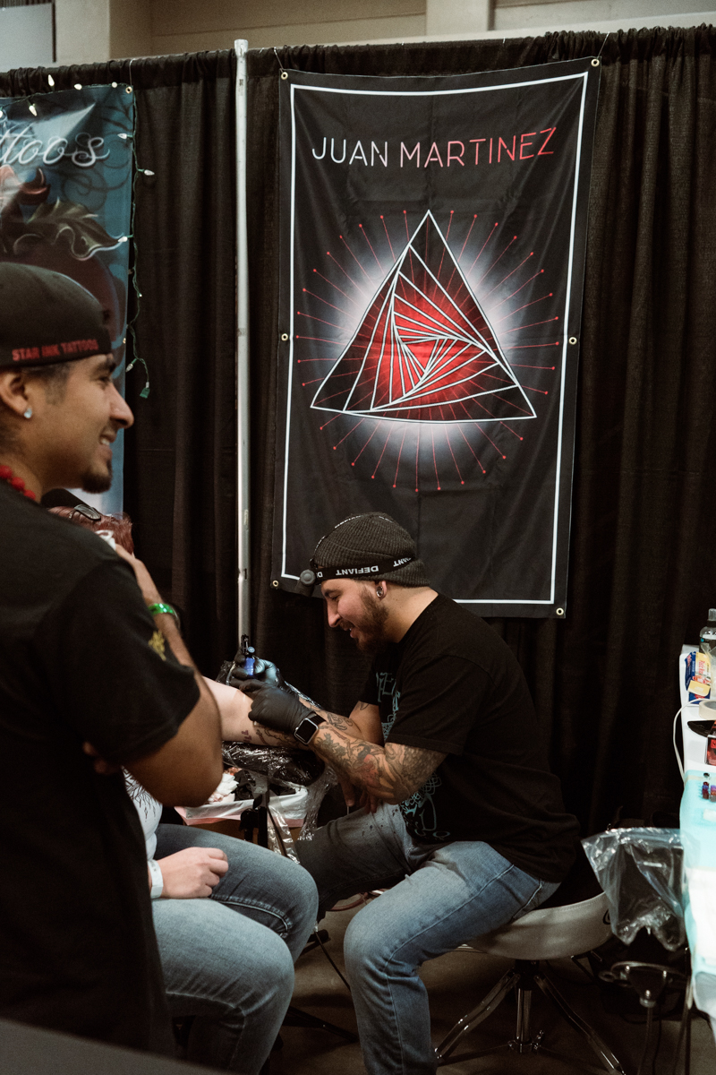 Artist Juan Martinez of Precisely Veiled Tattoo in Killeen whose specialty is Geometric Dotwork