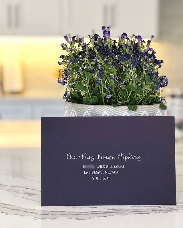 """Tried out a new modern and effortless """"script"""" for the guest names on this bride's envelopes and it's a new favorite!"""