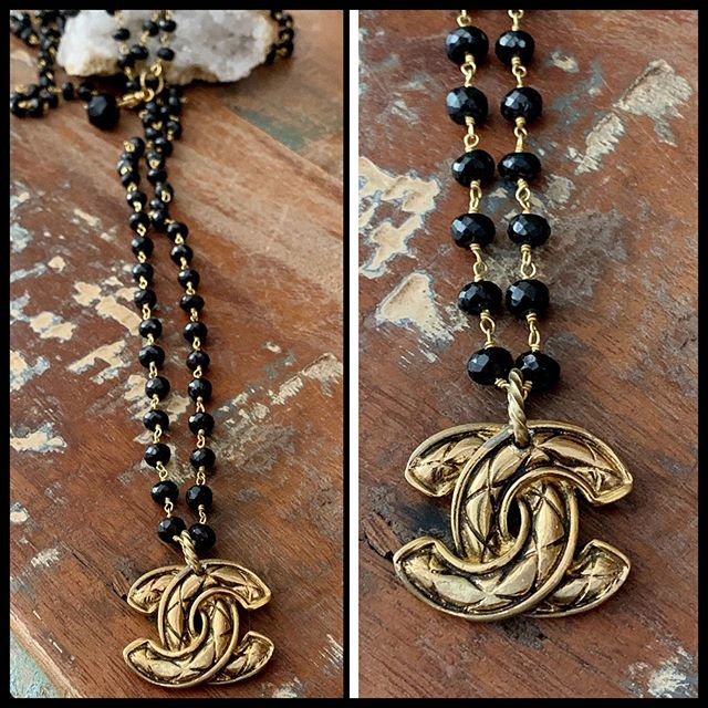 "marcieD recreates an authentic Chanel ""logo"" on 45"" of black wire wrapped spinel. Can be doubled or tripled. #marciedjewelry #necklace #blackspinel #summer #sotoboutique"
