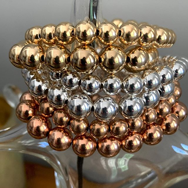 Solo or stacked these 8mm and  10 mm Gold Fill, Sterling Silver and Rose Gold beaded bracelets make a statement.  So bold and beautiful! Mix those metals or match them - either way works! ❤️ #marciedjewelry #gold #silver #rosegold #beadbracelets #bold #beautiful #mix #match #fabulous