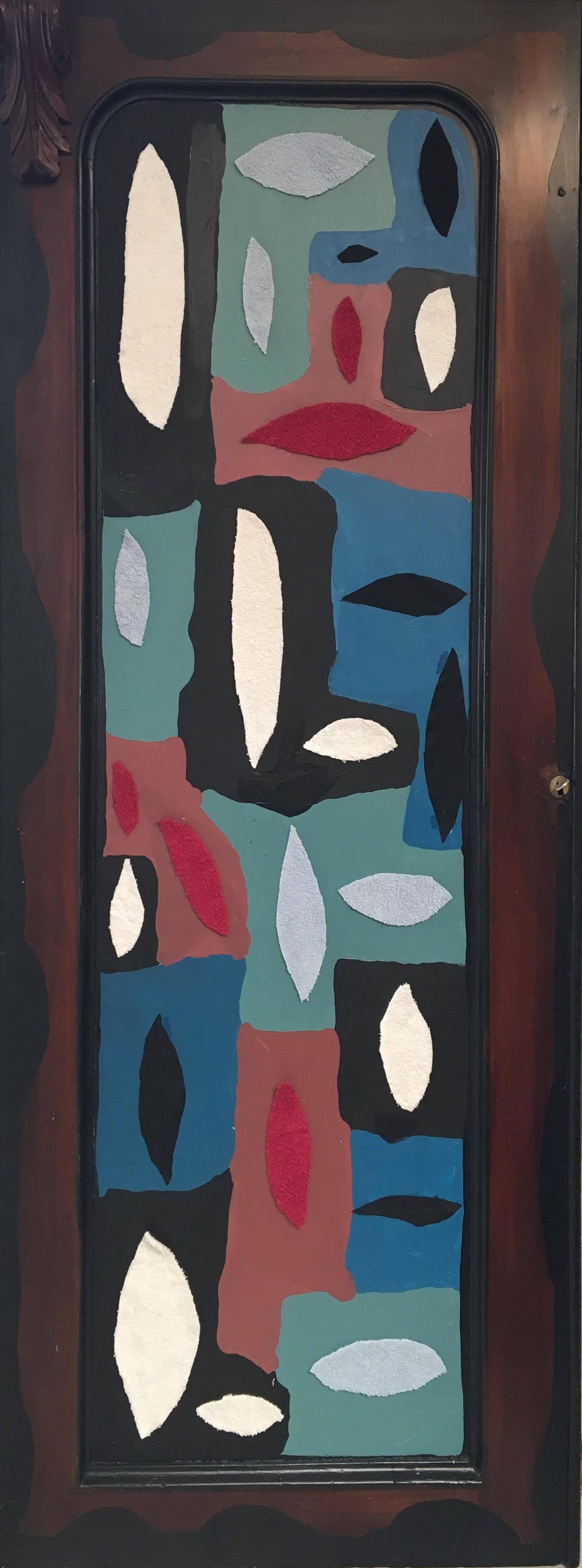Acrylic, fabric on door