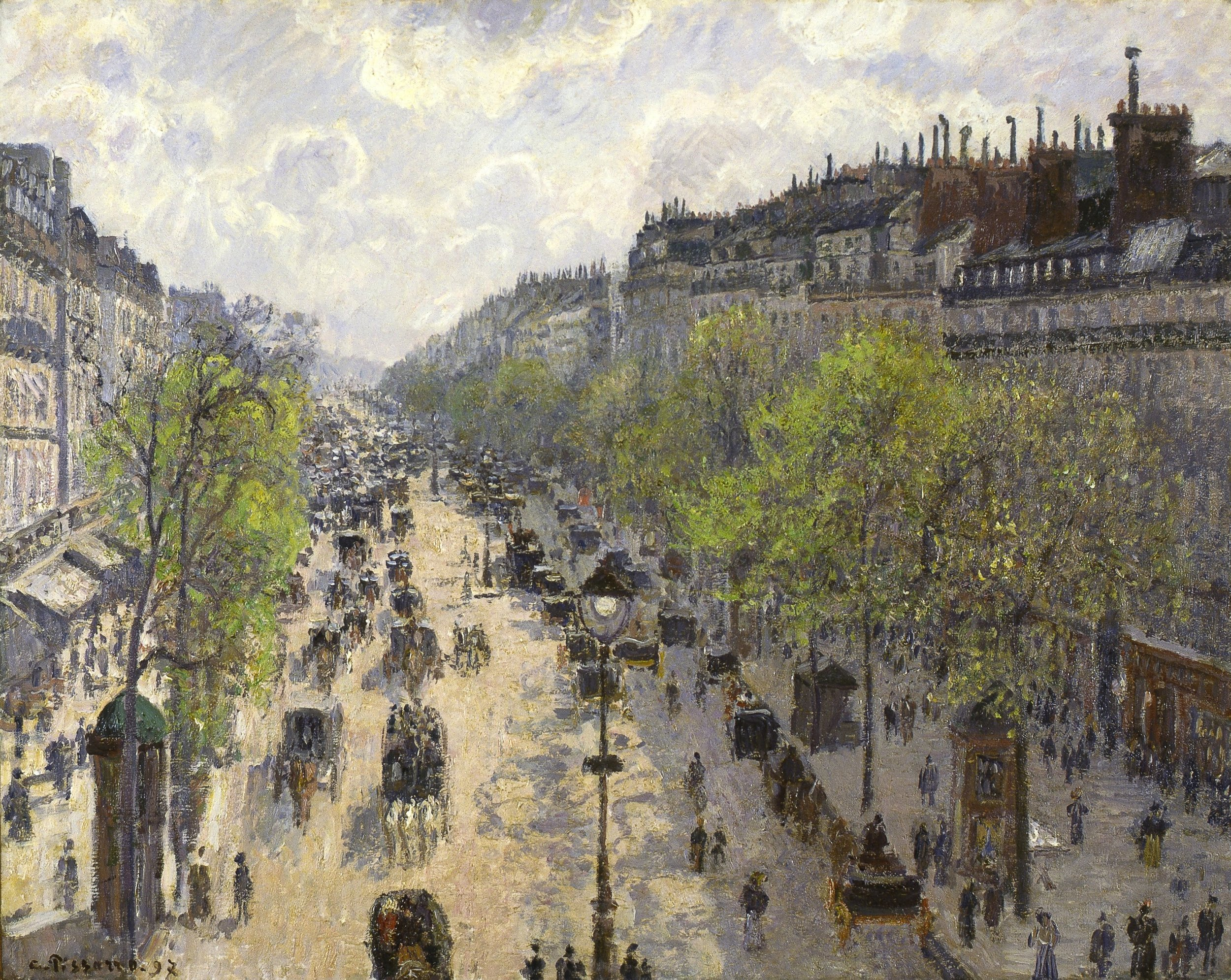 The architect of Paris, Haussmann, determined the heights of his buildings based on the width of the street. As shown in this painting by Pissarro, the shadows appear restrained to the bodies of the buildings and allow light to enter the windowed spaces parallel.