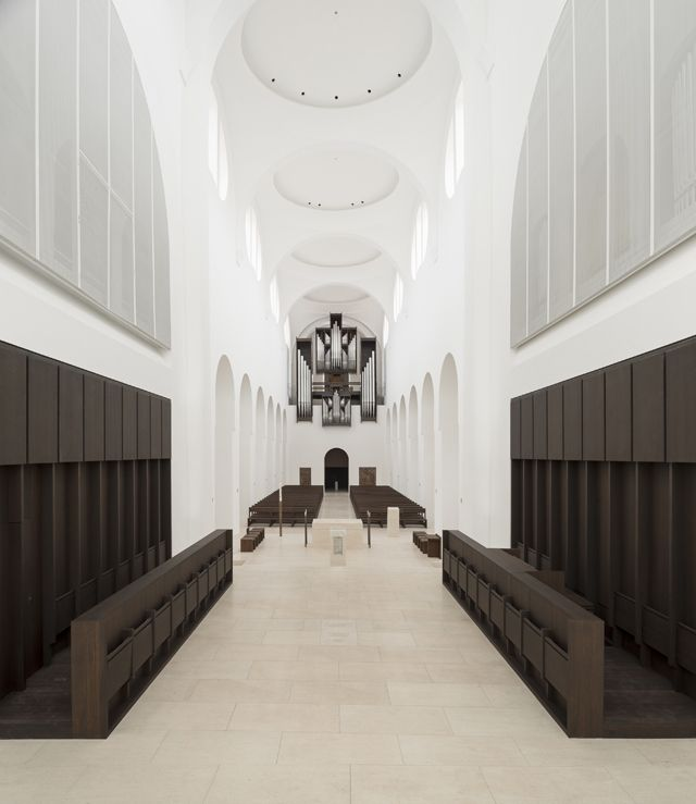 John Pawson's renovation of Moritzkirche in Germany, 2008, applies his minimal interpretation of traditional forms.