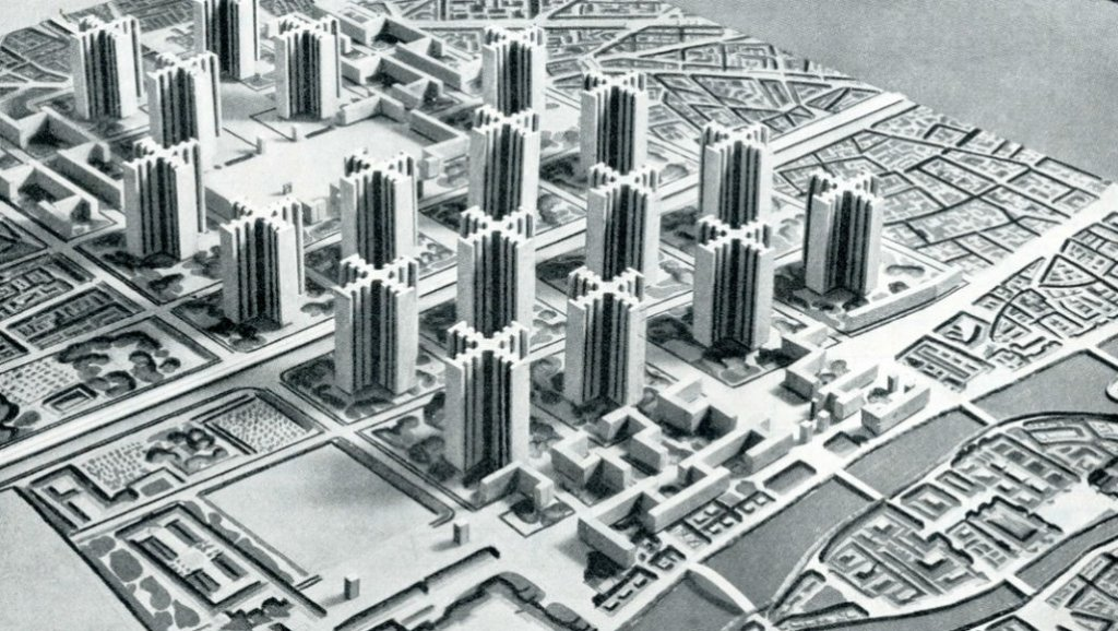 The 1925 Model of the Plan Voisin designed by Le Corbusier. The model was a vision for central Paris.