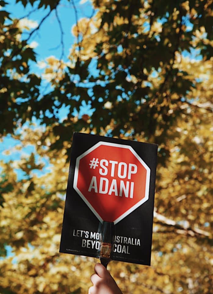 Image of the Stop Adani logo, captured by Milou Hofman.