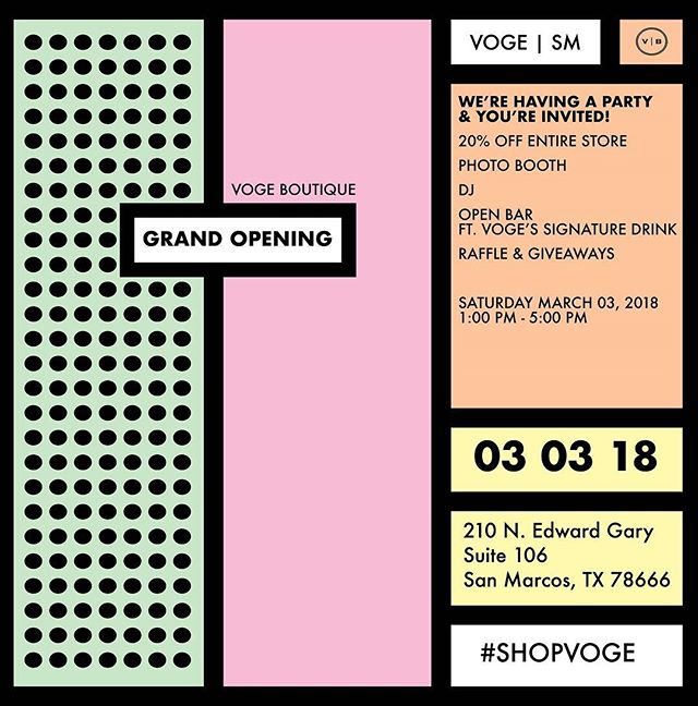 4 DAYS 'TILL GRAND OPENING! Are you pumped?! (We are!) bring your gal pals & let's party Voge-Style! #vogemarcos #vogeparty #grandopening #party #yay #shopvoge @localsanmarcos @crafthousetx @chimyssanmarcos