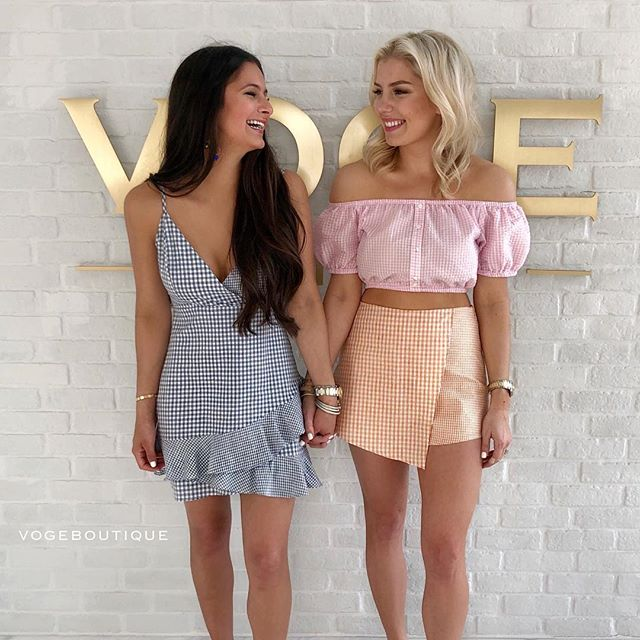 Finally dropping these outfits from our SHARED-TO-WIN!!!!!!!!! Ft. EMILY (left) in our — ' GING - HAMPTONS' wrap style mini dress with hidden back zipper | S, M, L | $46 | SA & SM || KRISTEN (right) in our — ' SORBET SERIES ' asym gingham skirt with hidden side zipper | S, M, L | $36 | SA & SM || Paired with our @minkpink 'GABIES CROP' off the shoulder crop top | XS, S, M | $55 | SA ONLY     Get these adorable outfits by sending us a DM, or iMessage SHOPVOGE@GMAIL.COM!!! #vogeboutique #shopvoge #sanantonioboutique #sanantonioboutique #newarrivals #vogeantonio #vogemarcos #fittingroomselfie #minkpink #vogelovesminkpink #kristenandem