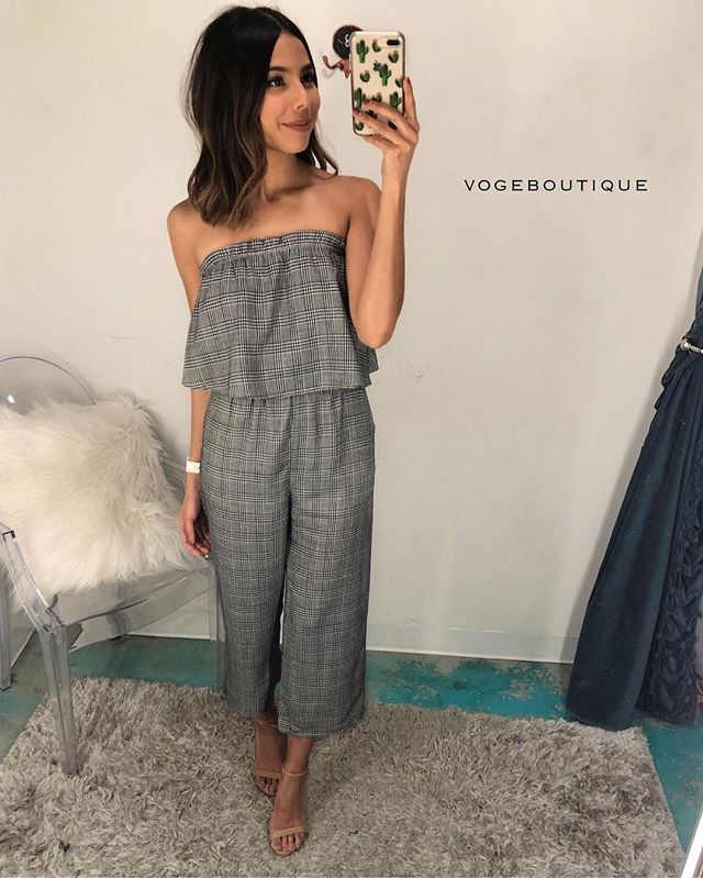 They say breaking a mirror, having a black cat walk in front of you, & not getting Voge's newest jumpsuit are all signs of 'PLAID LUCK'. turn your luck around with this strapless ruffle plaid jumpsuit | S, M, L | $66 ||     AVAILABLE IN SA & SM    Get this look by calling 210.254.9297, or iMessage SHOPVOGE@GMAIL.COM!!! #vogeboutique #shopvoge #newarrivals #obsessed #vogeantonio #vogemarcos