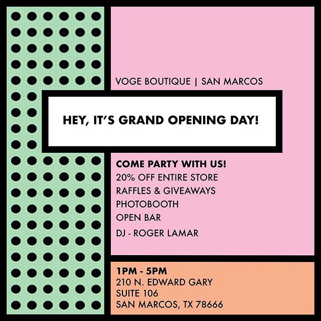 'WE'RE READY TO PARTAAAAYYY' the day we've all been waiting for is FINALLY HERE! join us for the GRAND OPENING of Voge #2, VOGE l SAN MARCOS from 1-5pm today. Bring all your friends and fam and LET'S PARTY! #shopvoge #vogeparty #vogemarcos #grandopening #party #sanmarcos #letsdothis #openbar