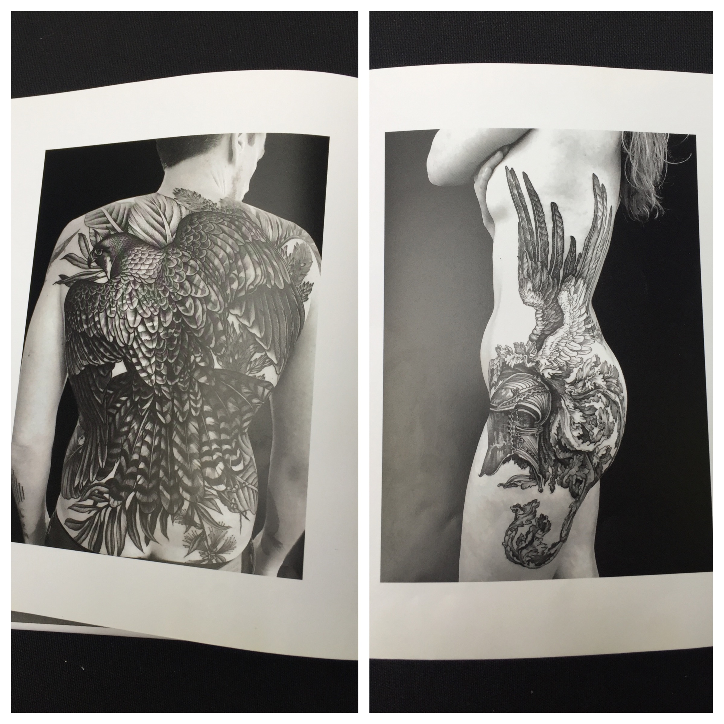 - My favourite artist was Maud Dardeau who started her career as a painter and then applied her art to tattoos. She only uses black ink and the book of her pieces demonstrated much poetry and tenderness. She is inspired by masters such as Gustave Dore and Albrecht Durer.