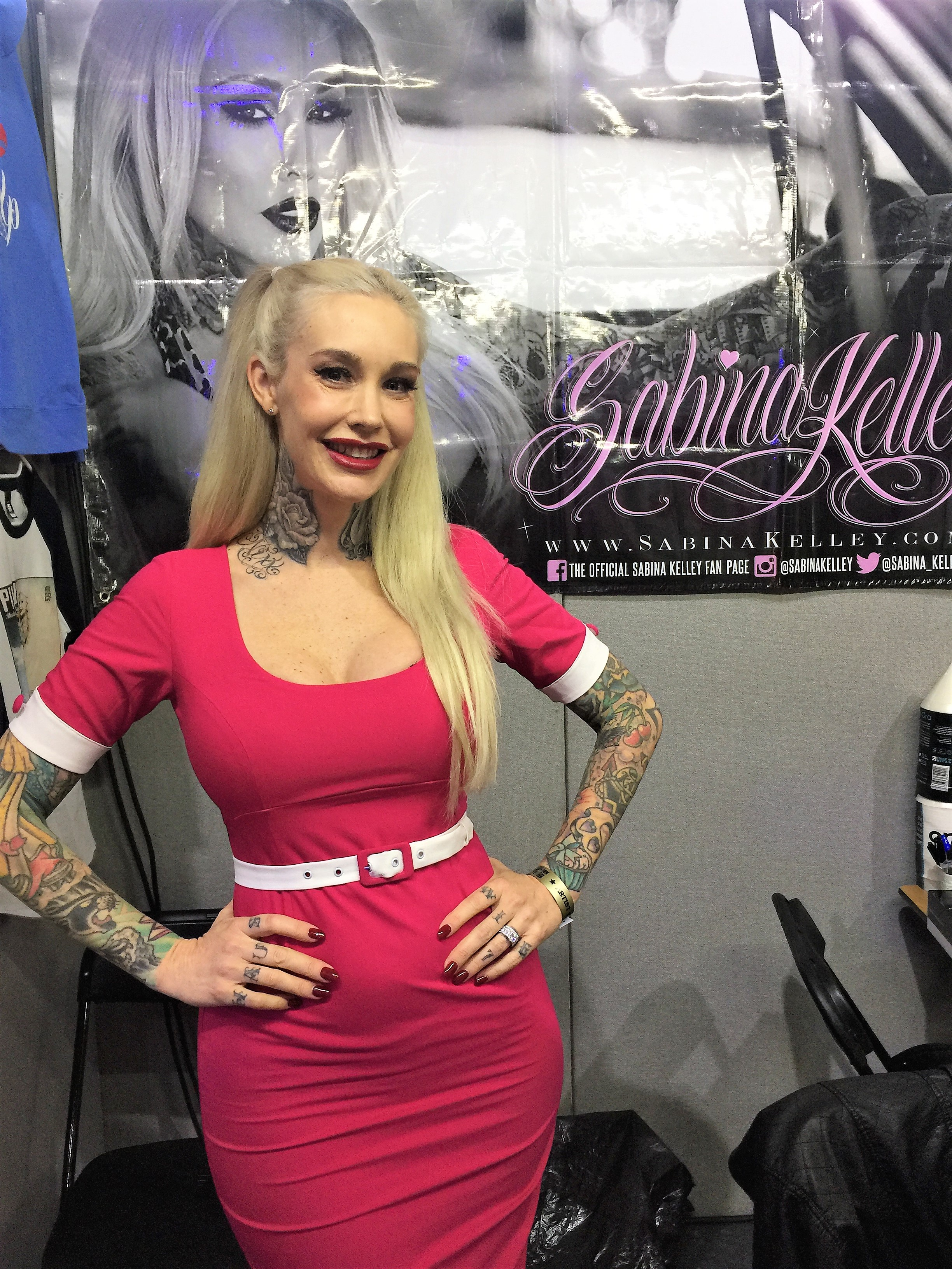 Model Sabina shows off her tattoos. -