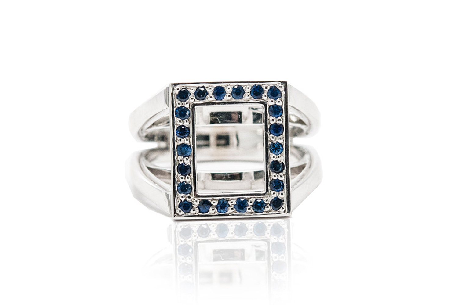 3.Sapphire & 18K White Gold Rectangle Frame Ring.jpg