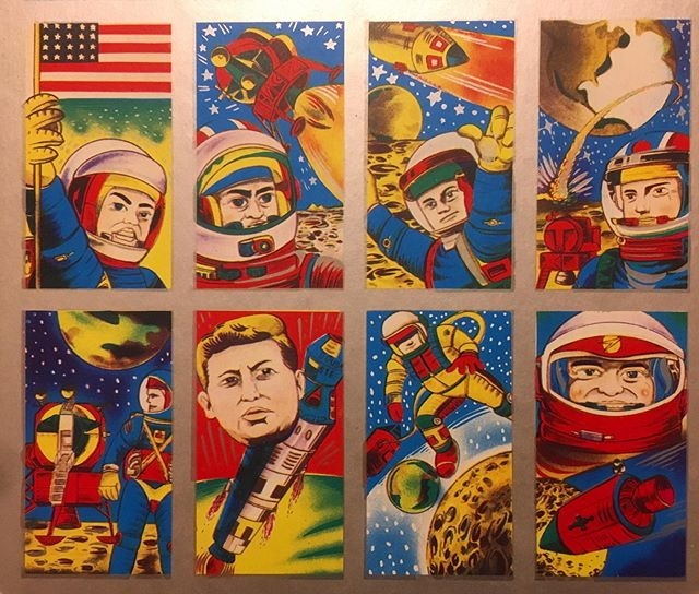 Recent acquisition.  An uncut sheet of Japanese menko cards about the moon landing.