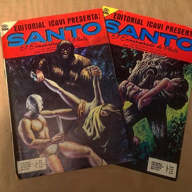 Recent acquisitions.  Note: Santo does not fight a Sasquatch or a tree monster in either of these books. He does, on the other hand, fly around using a jet pack.