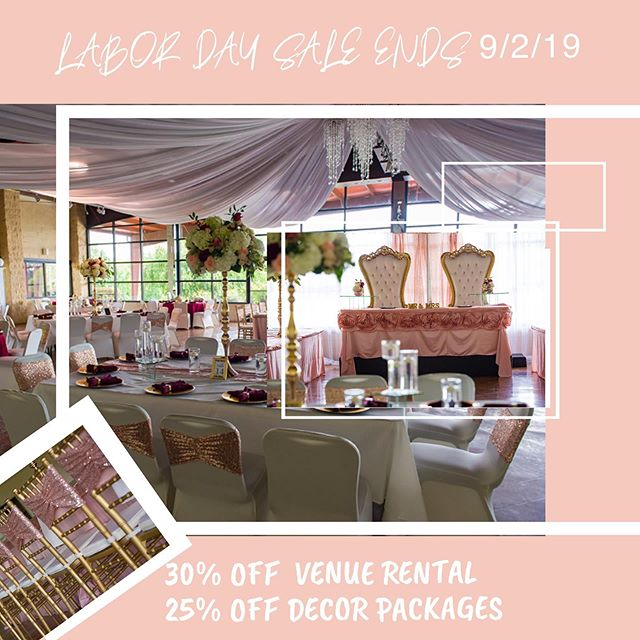A Labor Day Special- you dare not miss!  Call today to reserve your date and other services!  #castlehillpavilion #castlehill #perfectionwed #outsidevenue #florencems