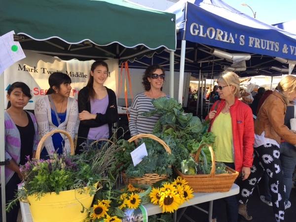 Students at the Mar Vista Farmers' Market