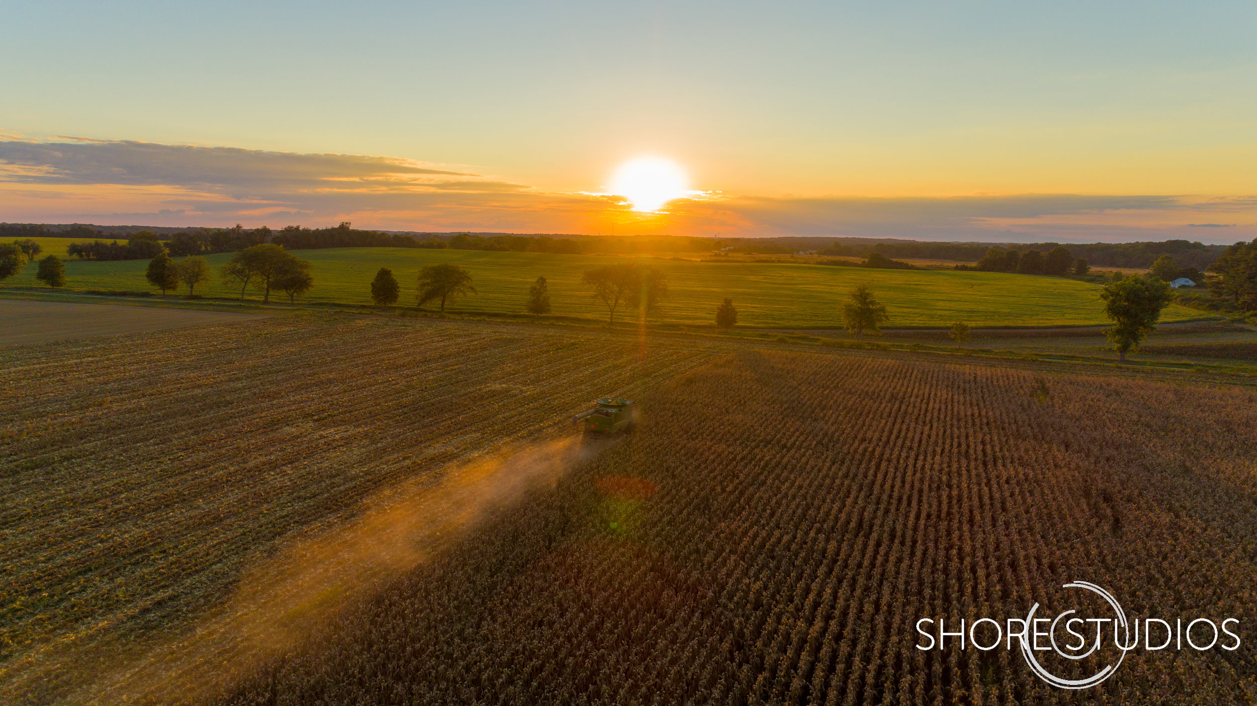 Aerial photo of organic corn harvest at Blue Stem Farm in Queen Anne's County, MD