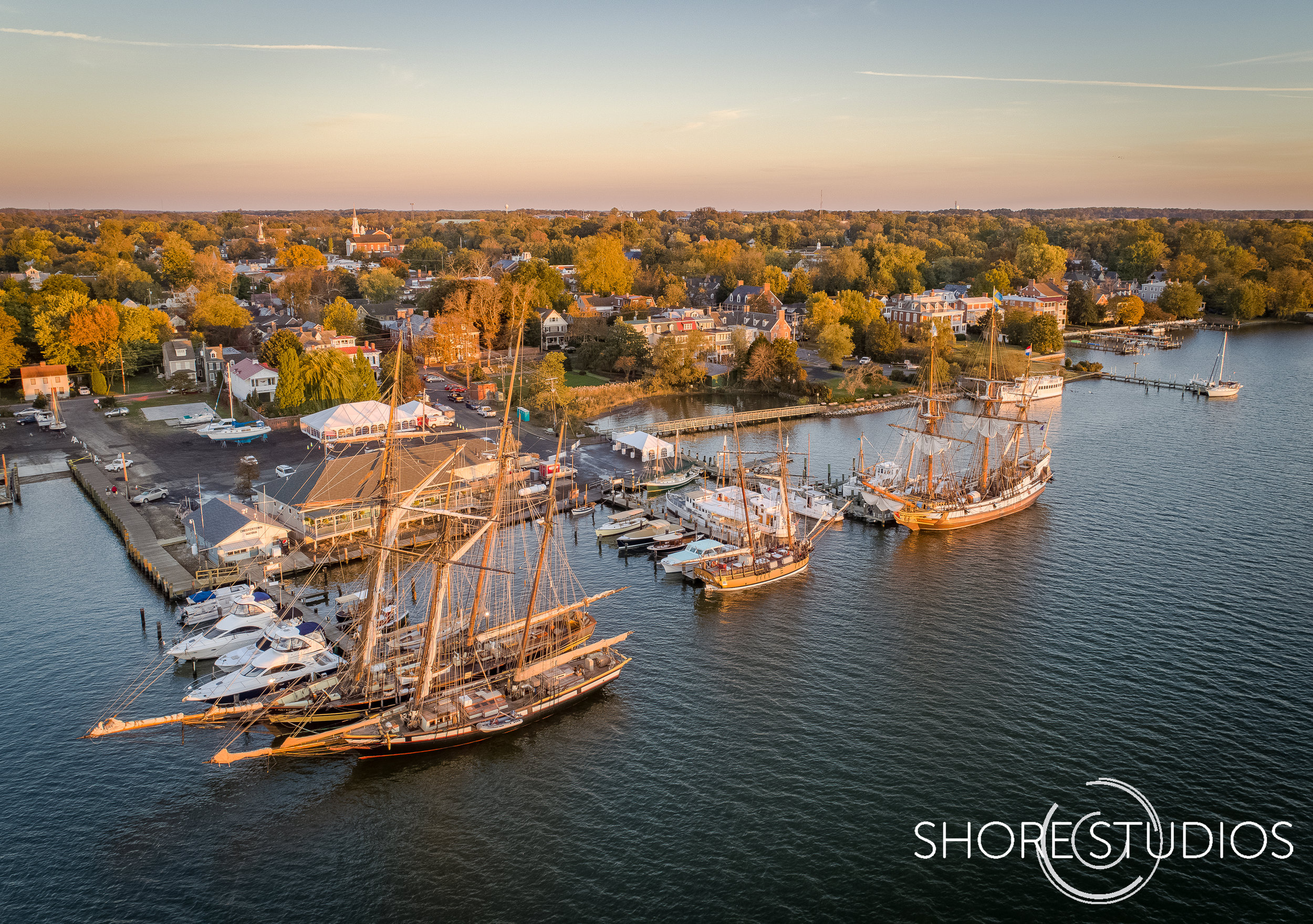 Aerial photo of Sultana Education Foundation's   Downrigging Weekend Tall Ship Festival   in Chestertown, MD