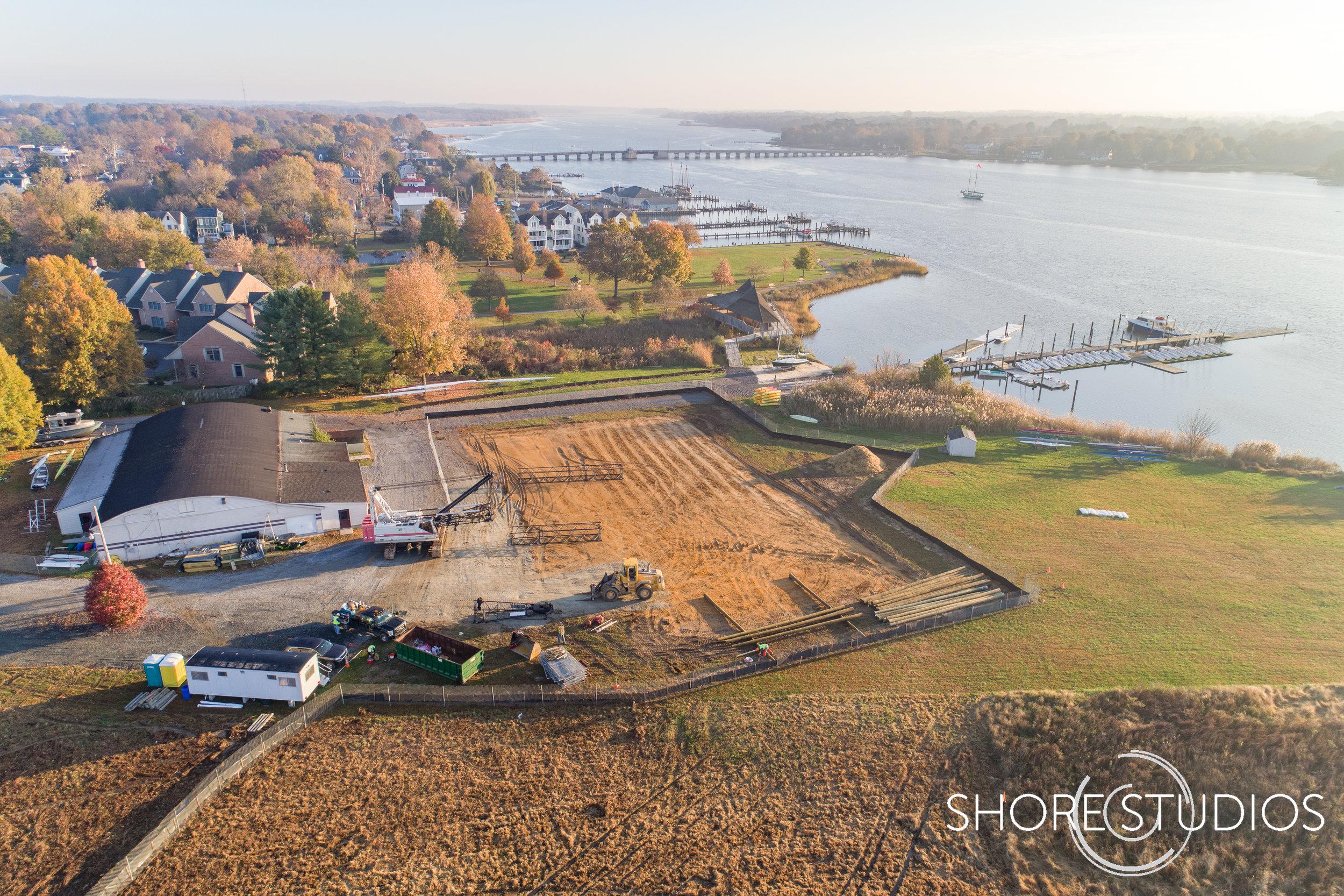 Aerial photo of Hodson Boathouse construction