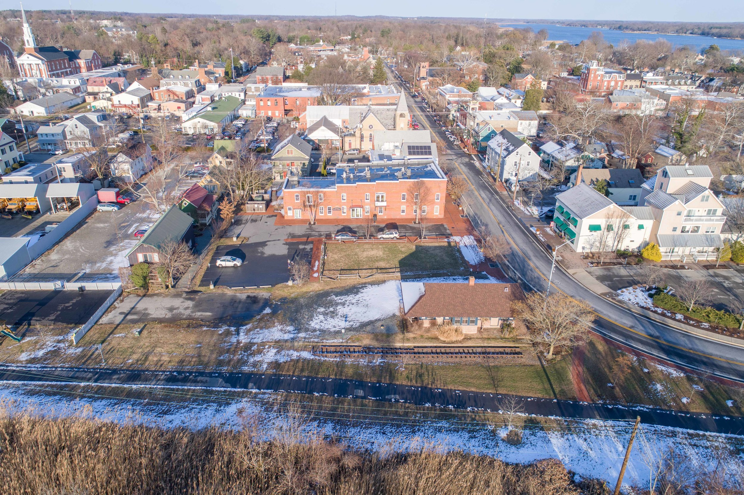 Aerial of Downtown Chestertown Lot for Sale 2