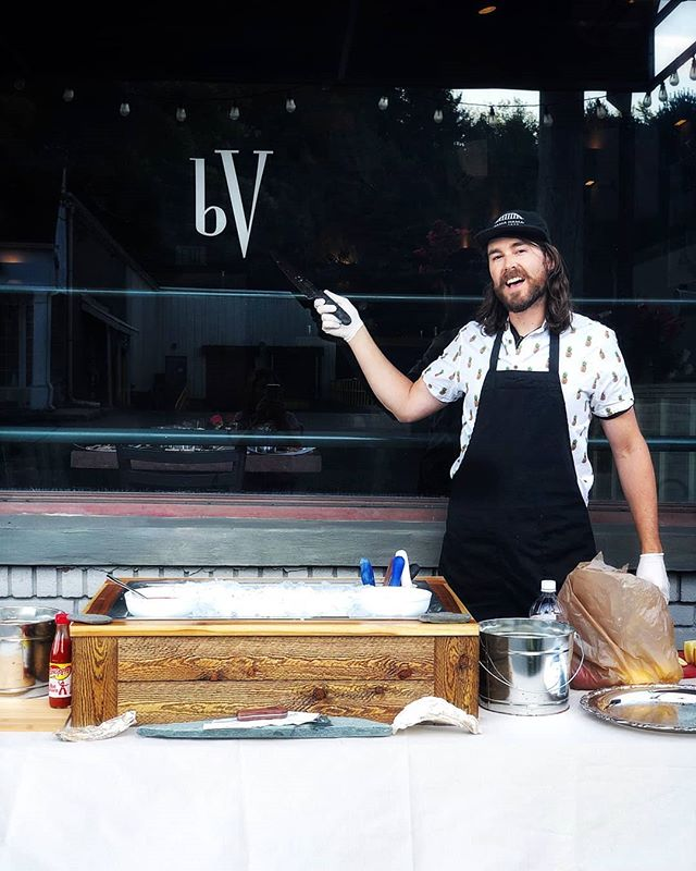So stoked to return to @barvino for some sidewalk shuck action and to fire up the grill on the street!  Congrats to Alex and Jeanna and thanks for having us be a part of your rehearsal dinner! 📷 by @vinogirl79  #popupoysterbar #knifeforhire #someonesshuckingonshuckdownstreet #bringthebrine #weencouragegluttony #getshuckedup #getemwhiletheyrecold #oysters #virginica